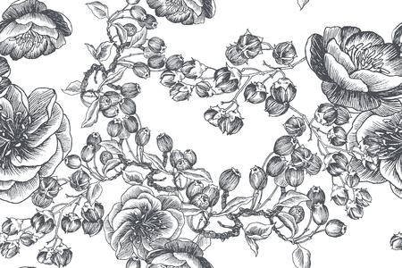 Blooming flower. Set collection. Hand drawn botanical blossom branches on white background. Engraved illustration. Ilustração