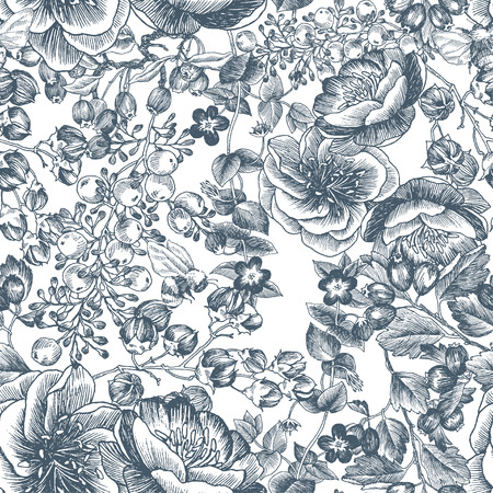 Wild flowers blossom branch seamless pattern. Vintage botanical hand drawn illustration. Vector design. Can use for greeting cards, wedding invitations, patterns for eco product, cosmetics.