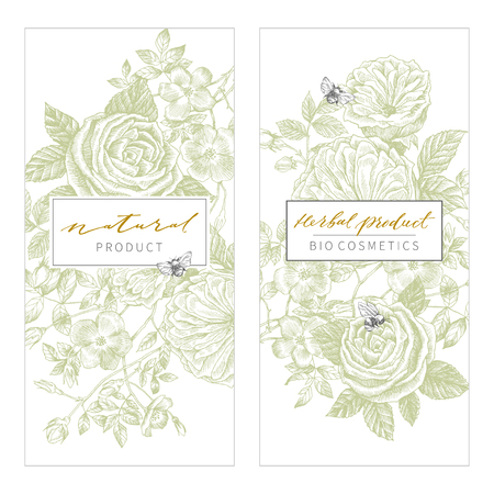 Vintage Floral Cards Set. Frame with Engraving Flowers. Botanical Illustration. Retro Graphic Style. Can use for eco natural product, herbal cosmetics and other designs Ilustração