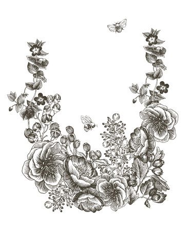 Blooming flower. Set collection. Hand drawn botanical blossom branches on white background. Engraved illustration. Çizim