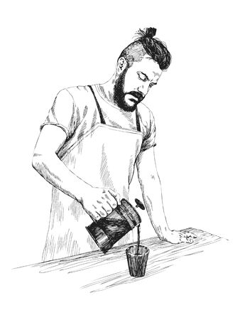 A barista is dropping coffee from the cafe. Hand drawn style vector sketch design illustrations.