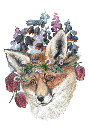 Beautiful fox in a wreath of wild flowers. Watercolor illustration for greeting card, poster, or print on clothes. Fashion Style. Hipster