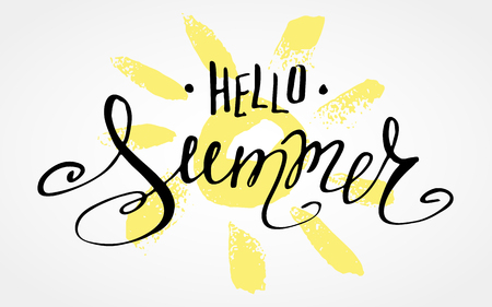 caligraphy: Lettering Hello Summer.   drawn caligraphy.  summer poster. Design element for seasonal  , t-shirts, cards.  illustration Illustration