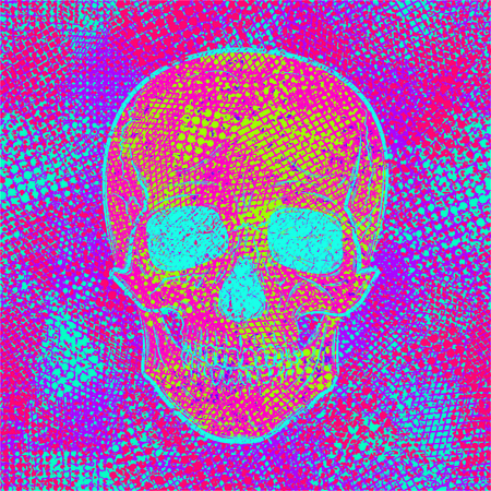Skull on colored chaotic creative background. Abstract texture. Cool design in grunge style. Urban modern vector illustration.