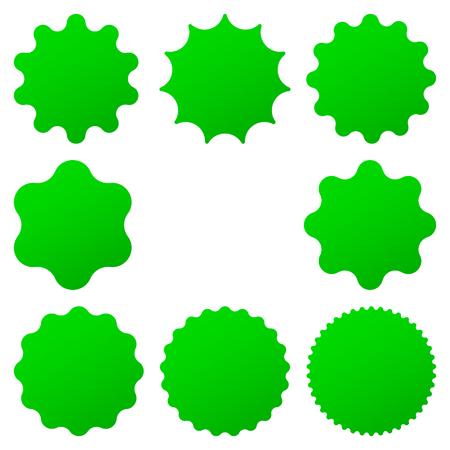Best for sale sticker, price label, quality sign. Green Postal stamps and postmarks. Collection different starburst. Set sunburst badges Illustration