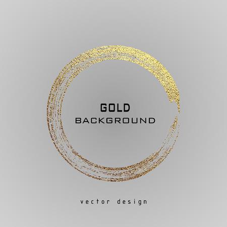 Round grunge golden frame on a gray background.