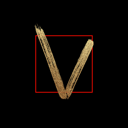Brush check mark icon. Vector isolated gold glittering luxury positive yes on black background. Tick grunge and simple sign.