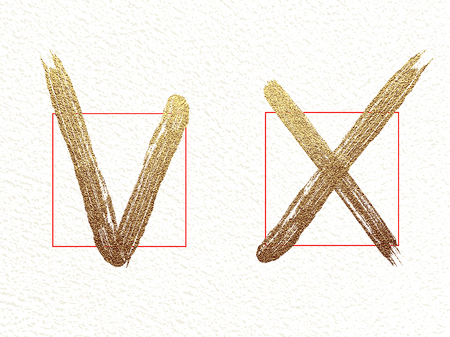 Brush check marks, icons set, vector isolated gold glittering luxury positive yes and negative no on white background. Tick and cross grunge and simple signs.