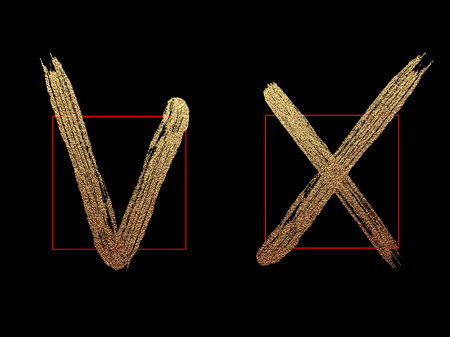 Brush check marks , icons set, vector isolated gold glittering luxury positive yes and negative no on black background. Tick and cross grunge and simple signs.