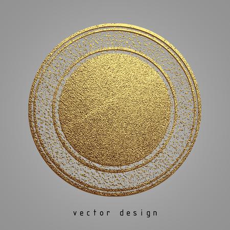 recompense: Vector illustration. Gold rubber stamp. Luxury golden vintage border.