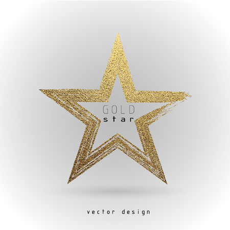 Gold Star logo. Golden shiny sign. Luxury badge