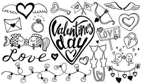 Romantic hand drawn stikers.