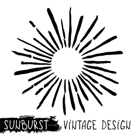 Sun burst. Trendy hand drawn retro sunburst. Bursting rays design elements. Vector illustration Illustration