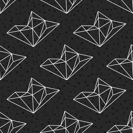 Geometric seamless pattern with linear crystals. Black and white polygonal background. Vector illustration