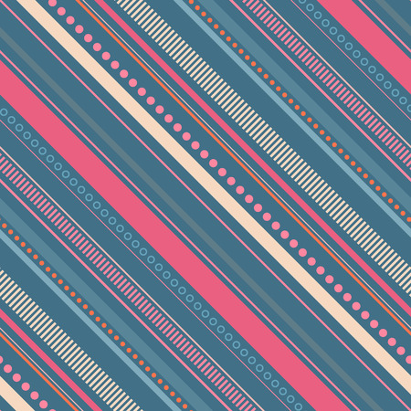 Seamless pastel blue and pink pattern with diagonal stripes and dots