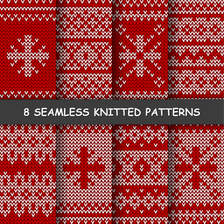 Set with seamless winter patterns. Red and white knitted background in scandinavian style. Stock Illustratie