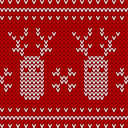 Seamless winter pattern. Red and white knitted background