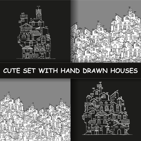 Set with hand drawn doodle houses. Samless pattern in black and white. Illustration is in  vector mode. Illustration