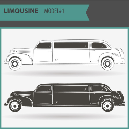 Retro stretch limo on a white background in two colors - black and white. Illustration of two vip limousine isolated on white background.