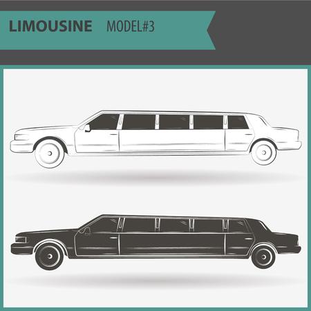 Retro Stretch Limousine auf einem weißen Hintergrund in zwei Farben - schwarz und weiß. Illustration von zwei VIP-Limousinen lokalisiert auf weißem Hintergrund.