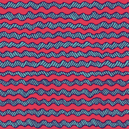 Seamless doodle graphic pattern. Hand drawn striped texture. Wavy lines background.  Made in vector Ilustração