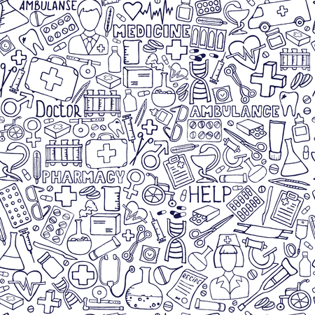 Hand getekend geneeskunde patroon. Gezondheidszorg, apotheek doodle naadloze achtergrond. Vector doodle illustraties. Vector Illustratie