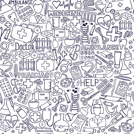 Modello di medicina disegnata a mano. Assistenza sanitaria, farmacia doodle sfondo senza soluzione di continuità. Illustrazioni di doodle di vettore. Vettoriali