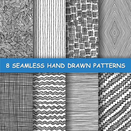 Set of eight seamless hand drawn patterns. Graphic textures. Hand made background. Made in vector Çizim