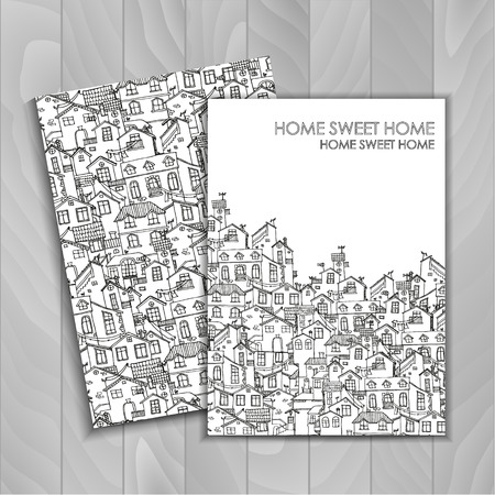 Two background with hand drawn doodle houses. Backgrounds set in black and white with house drawing. Illustration is in eps10 vector mode. Illustration