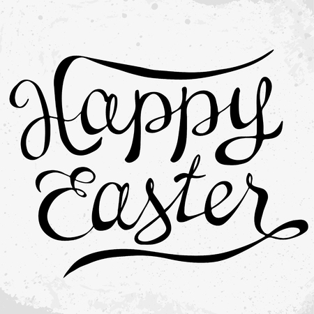 Greeting Happy Easter card, text template. Hand written phrase. Happy Easter lettering in modern calligraphy style. Vector holiday  illustration. Illustration