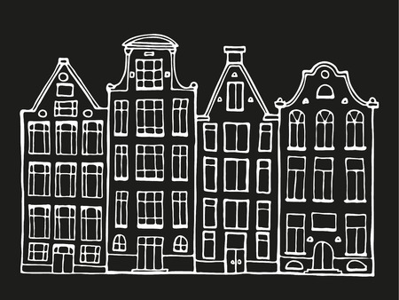 Hand drawn doodle scandinavian houses in black and white.  Stylized Netherlandish hous. Vector Illustration. 向量圖像