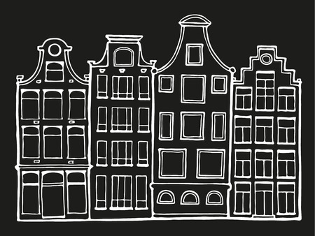 Hand drawn doodle scandinavian houses in black and white. Dutch home. Stylized Netherlandish hous. Vector Illustration.