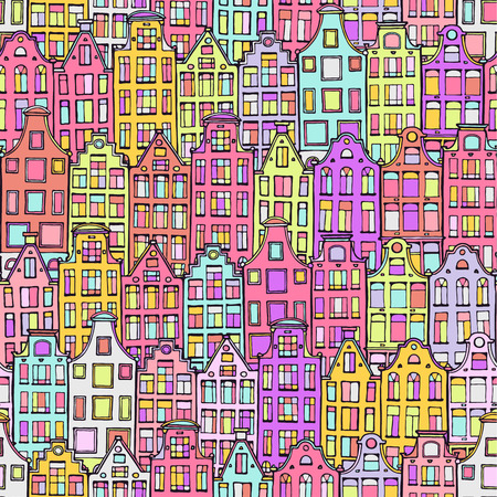 Hand drawn doodle scandinavian houses. Cute seamless background. Colorful houses. Netherlandish drawn hous seamless pattern. Amsterdam city drawing pattern