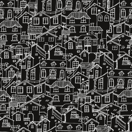 Pattern with hand drawn doodle houses. Illusttration with cute house. Line house drawing. Samless background in black and white. Vector Vectores
