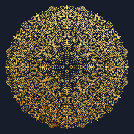 Decorative mandala. Gold Vector illustration. Outline drawing. Ornate line art element. Ornamental floral pattern for wedding invitations, greeting cards.