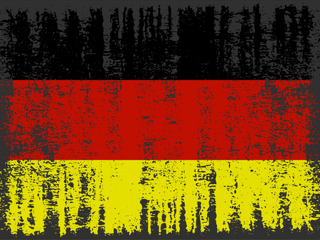 Grunge German flag with crack texture. Vector template.