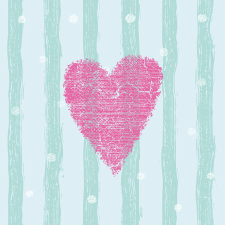 Pink heart seamless pattern with hand drawn stripes. For wrapping, wallpaper, textile, invitation, wedding card, valentine's day romantic card. Trendy hearts color vector on striped background.