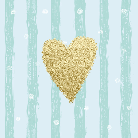 Gold glittering heart confetti seamless pattern with hand drawn stripes. For wrapping, wallpaper, textile, invitation, wedding card, valentine's day romantic card. Trendy hearts color vector on striped background.