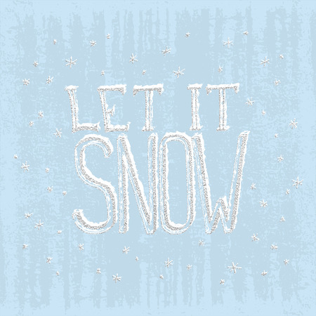 Let it snow. Christmas retro poster with hand lettering and winter decoration elements. Isolated typography design element for greeting cards, posters and T-shirt. Silver vector texture Иллюстрация