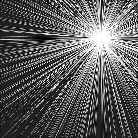 Light rays. Comic book black and white radial lines background. Rectangle fight stamp for card. Manga or anime speed graphic. Explosion vector illustration. Sun ray or star burst element 矢量图像