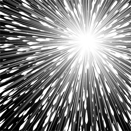 Light rays. Comic book black and white radial lines background. Rectangle fight stamp for card. Manga or anime speed graphic. Explosion vector illustration. Sun ray or star burst element