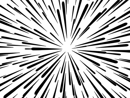 Light rays. Comic book black and white radial lines background. Rectangle fight stamp for card. Manga or anime speed graphic. Explosion vector illustration. Sun ray or star burst element Illustration
