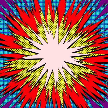 Ilustracja wektorowa wybuchu. Dymek retro pop-artu z kropkami. Komiksowa walka pieczęć dla karty Superhero akcja tło ramki. Element promienia słonecznego lub wybuchu gwiazdy