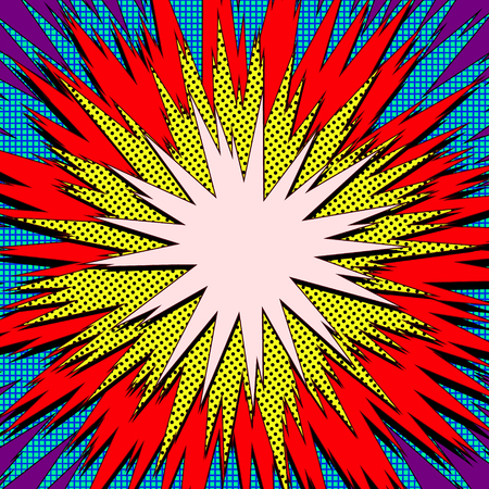 Explosion vector illustration. Retro pop art speech bubble with dots. Comic book fight stamp for card Superhero action frame background. Sun ray or star burst element