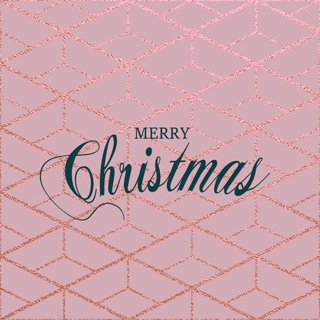 Vrolijk kerstfeest. Metallic glanzende textuur. Metalen rozenkwarts patroon. Abstracte glanzende achtergrond. Luxe sprankelende achtergrond voor wenskaarten, posters.