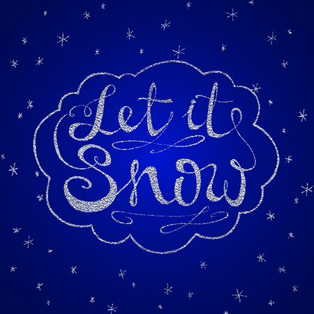 Let it snow. Christmas retro poster with hand lettering and winter decoration elements. Silver vector texture
