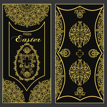 Ornate gold pattern card for Easter holiday