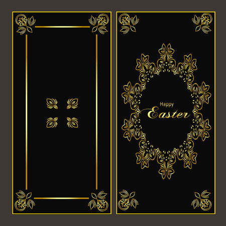 Ornate gold pattern card for Happy Easter holiday Illustration