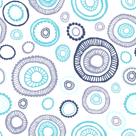 Vector illustration. Seamless hand drawn, colorful pattern with circles. Abstract background.