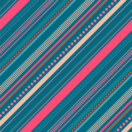 Seamless abstract blue and orange pattern with diagonal stripes and dots.